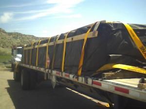 hazmat on flatbed truck